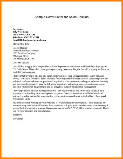 Sle Of A Cover Letter For Application by 11 Sales Cover Letter Exles Applicationleter