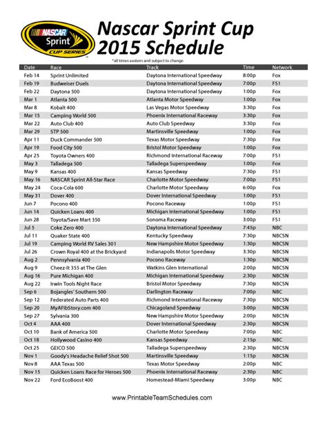printable nascar schedule the printable 2015 nascar sprint cup series schedule
