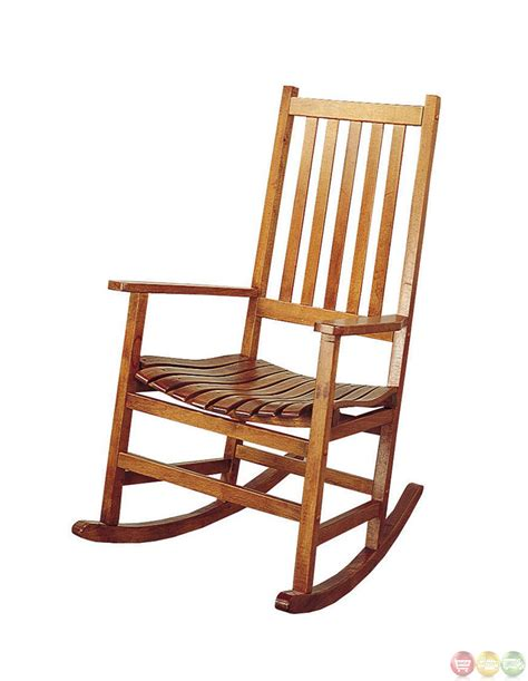 Rocking Chair by Oak Finish Traditional Design Wooden Rocking Chair