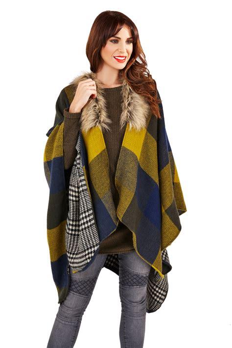 womens faux fur collar poncho wrap knitted shawl throw winter cape scarf ebay