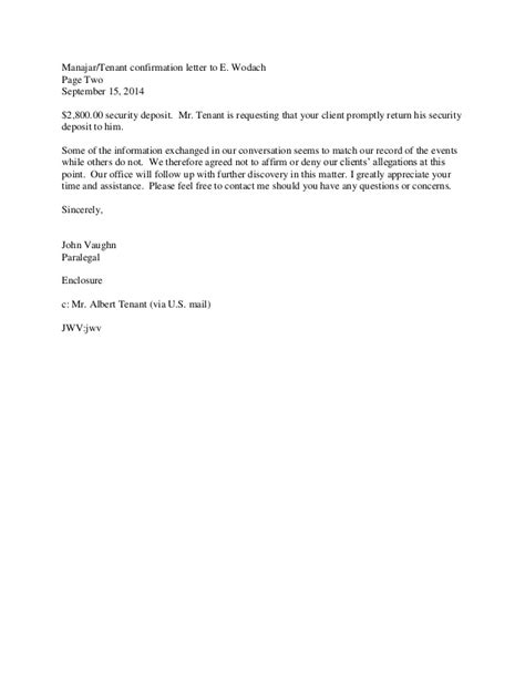 Lease Agreement Confirmation Letter Sle Letter Of Confirmation