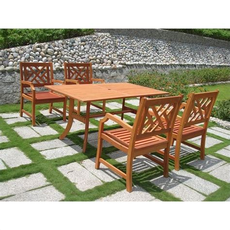 Wood Patio Dining Set Atlantic 5 Wood Patio Dining Set V187set2