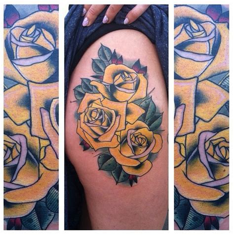 last angels tattoo yellow roses hip by last best