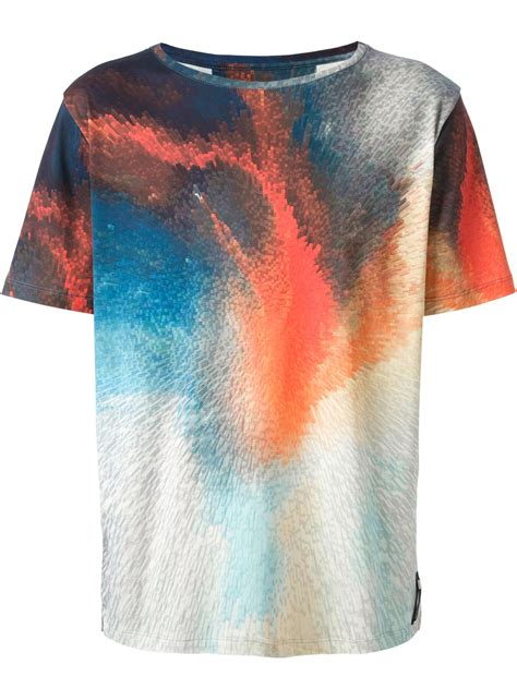 abstract pattern shirts lyst fendi abstract print tshirt for men