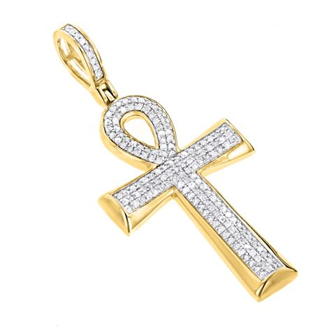 cross pendants for jewelry 10k gold cross ankh pendant of 0 4ct