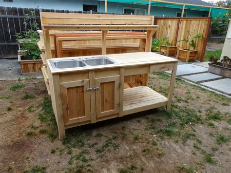 outdoor potting bench with sink custom raised gardens potting bench garden with sink cedar clipgoo