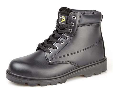 mens boys grafters black leather steel toe cap safety work
