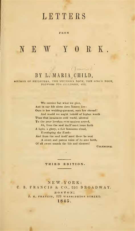 Contract Prolongation Letter letters from new york by lydia francis child
