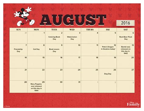 Disney Calendar 2016 August 2016 Printable Calendar Disney Family