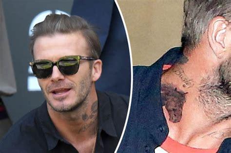 beckham tattoo rose david beckham sports new mysterious neck tattoo daily star