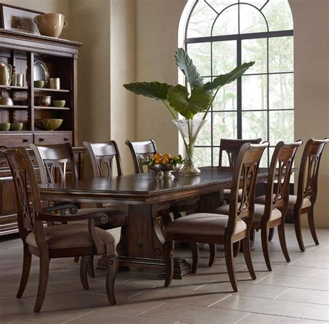 trestle and chairs kincaid furniture portolone nine piece trestle and