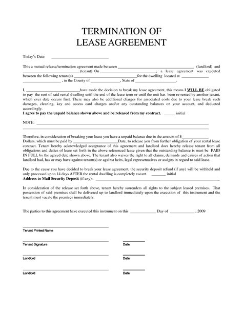 best photos of lease agreement early release clause