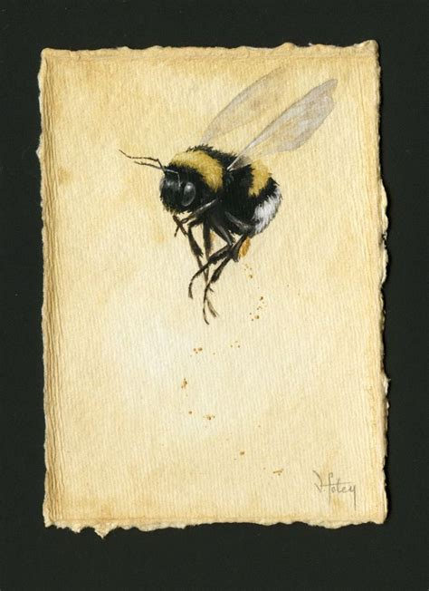 Watercolor Painting On Handmade Paper - image of buff tailed bumblebee study 10 by artist