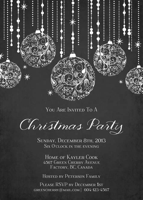 printable sparkle christmas invitation by