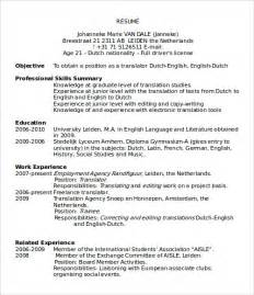 resume template ms word sle microsoft word templates free documents