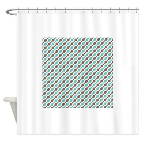 teal and brown curtains retro teal and brown pattern 3 shower curtain by
