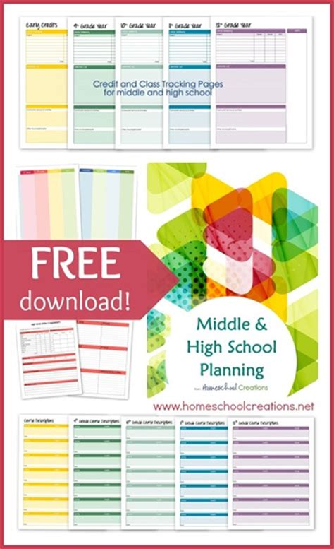 Middle And High School Planner Printables For Homeschool Middle School Student Planner Template