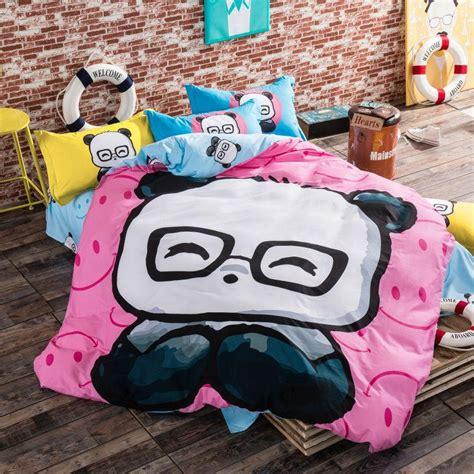 Gmb Set Mounie Panda Pink 100 cotton linens set pink and blue panda bedding sets size doona duvet
