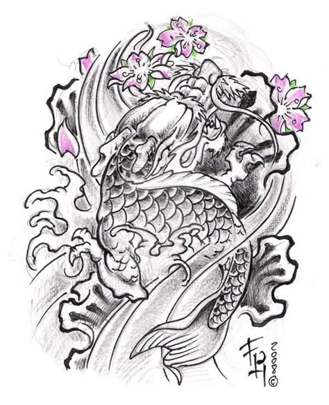 japanese dragon fish tattoo design by pantung