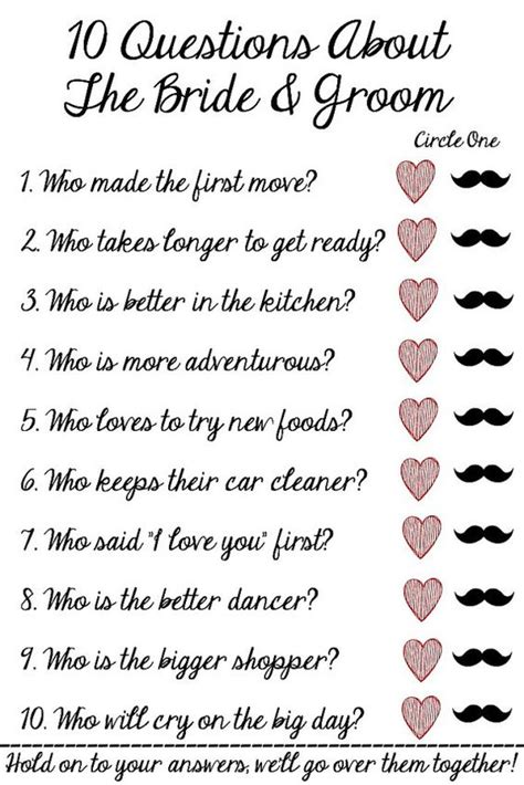 Wedding Questions by 10 Questions About The And Groom Bridal Shower