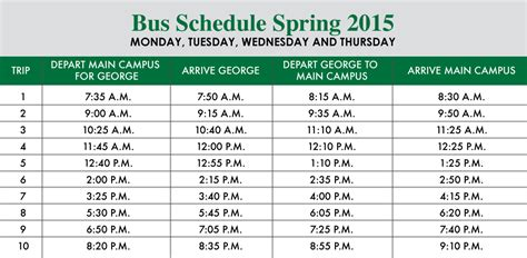 Usc Upstate News Transportation Schedule Template