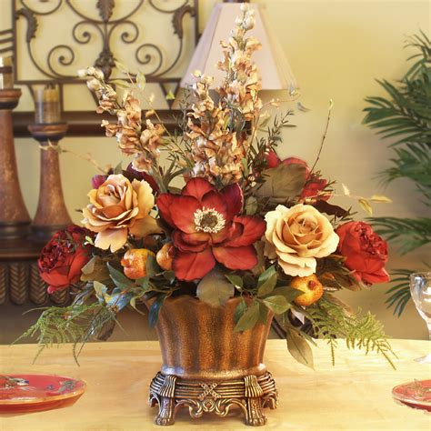 home decor floral arrangements magnolia rose silk floral centerpiece ar246 85 floral