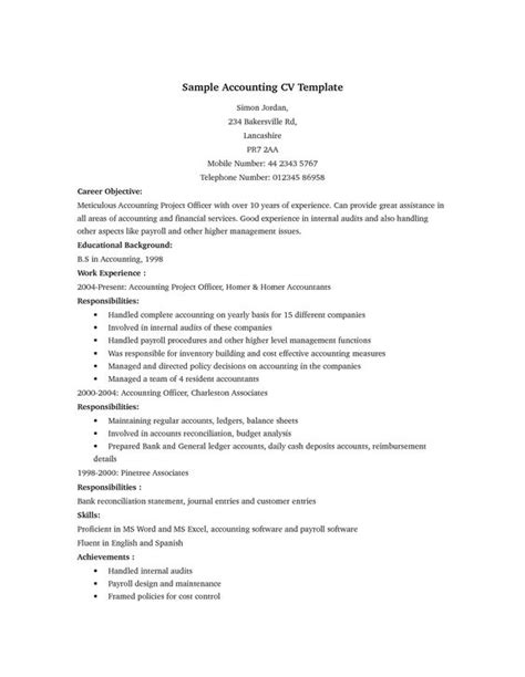accounting curriculum vitae format sle accounting cv cv exles search and accounting