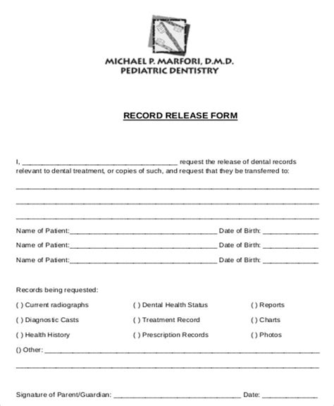 release for records form 8 sle dental records release forms sle templates
