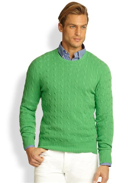 Sweater Insave 1 polo ralph cableknit sweater in green for