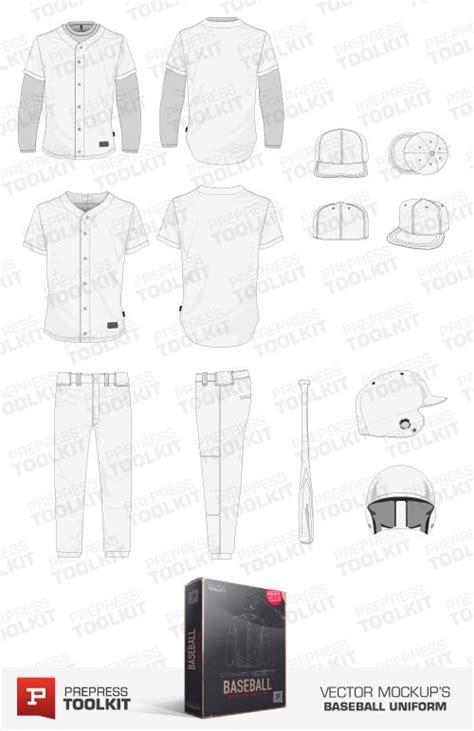 Baseball Uniform Vector Mockup Template Pack Tech Pack Template Vector