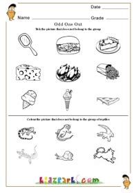 odd one out worksheets kindergarten activity sheets