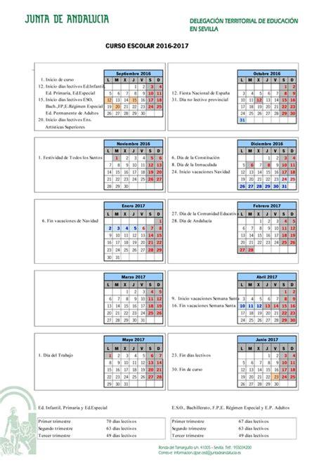 Calendario De Vacaciones 2017 Calendario Escolar Sevilla Curso 2016 2017 Papanoara