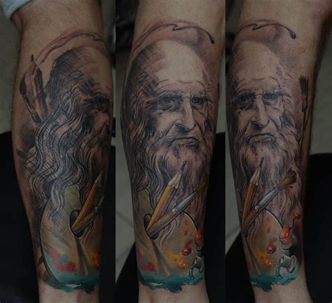 da vinci tattoo da vinci sleeve by dmitriy samohin design of