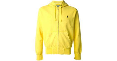 New Jaket Sweater Polos Hoodie Zipper Orange Oren polo ralph zip front hoodie in yellow for lyst