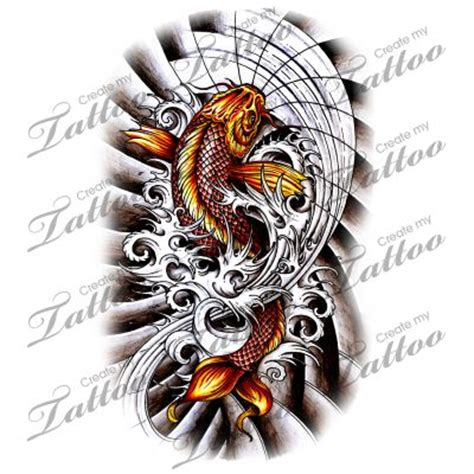 dark koi fish tattoo designs koi fish with waves design japanese