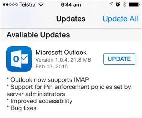 Office 365 Outlook Version Support Outlook For Ios And Android Gets Support For Pin Policies