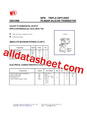 transistor d1555 2sd1555 datasheet pdf wing shing computer components