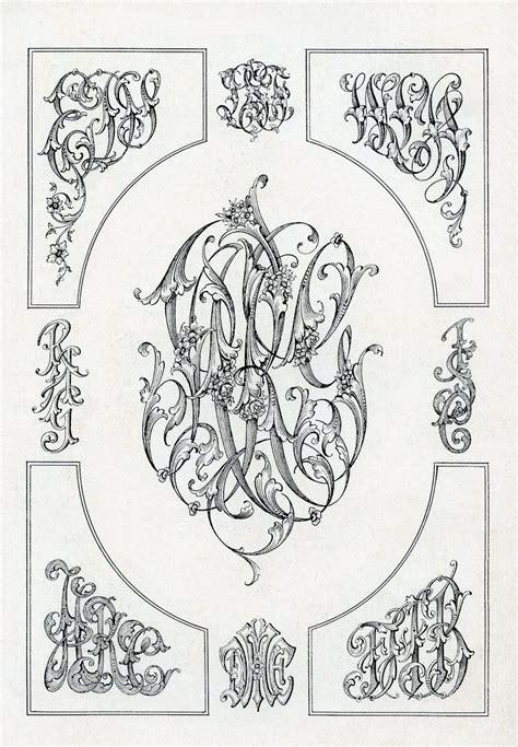 printable monogram art monogram letters clip art