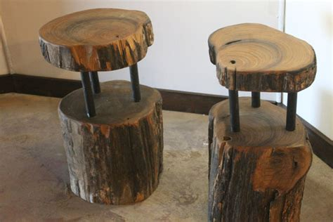 Handmade Wooden Bar Stools - handcrafted reclaimed solid wood slab side table bar