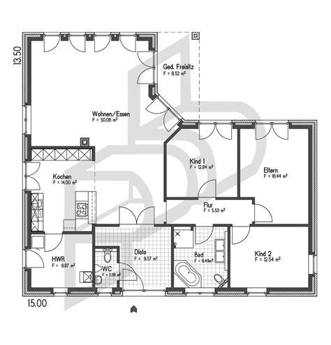 Grundriss Bungalow 140 Qm by Wohnhaus Vom Typ Bungalow Nr 10062 Parc Bauplanung Gmbh