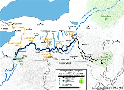 map of the finger lakes flt conference about the trail