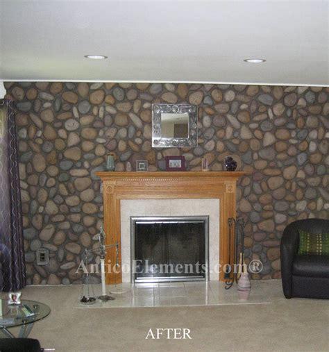 faux rock fireplace