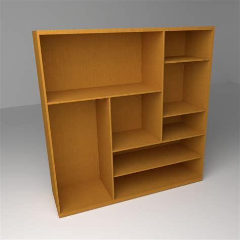 multi level bookshelf 3d model ready blend
