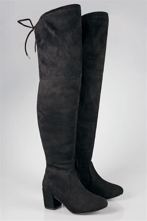 Boots Gift Cards Terms And Conditions - black over the knee block heel boots with xl calf fitting in true eee fit