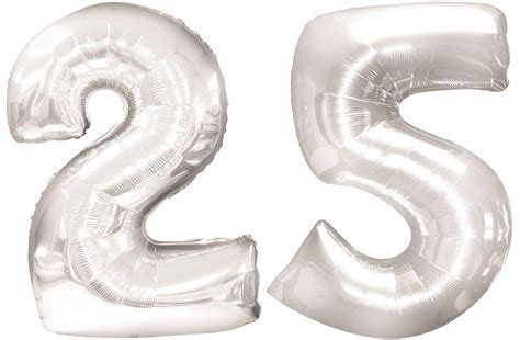 2 Giant Foil Balloon with Number * 25 * for 25th Silver