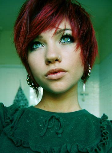 nose hair color pixie cuts nose rings and short red hair on pinterest