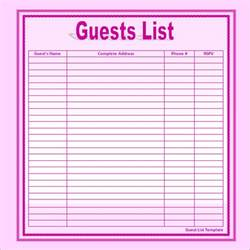template for list of names sle wedding guest list template 15 free documents in