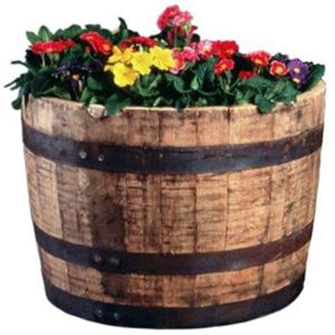 25 In Dia Oak Whiskey Barrel Planter B100 The Home Depot Wine Barrel Planters Home Depot
