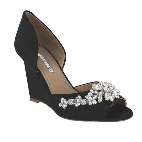 Wedding Shoes Size 10 by David Tutera Winter Black Satin Womens Wedding Shoes Size