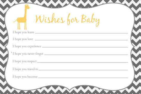 wishes for baby card templates wishes for baby card printable chevron baby shower giraffe